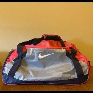 Nike pink and gray duffle bag